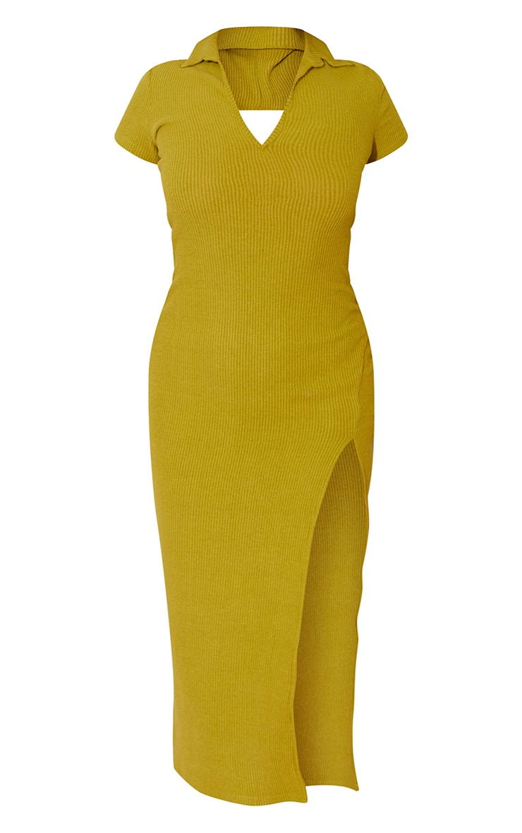 Chartreuse Short Sleeve Brushed Rib Open Back Detail Midaxi Dress 5
