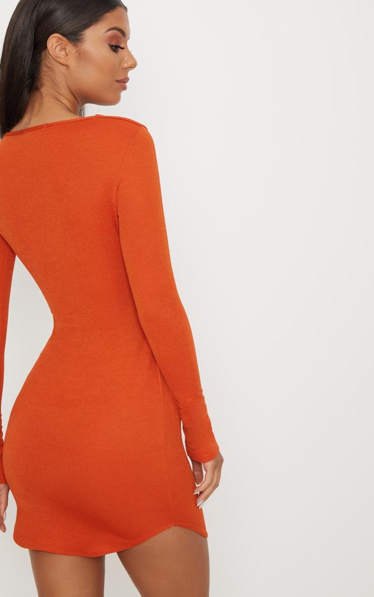 Burnt Orange Double Cut Out Long Sleeve Bodycon Dress 2