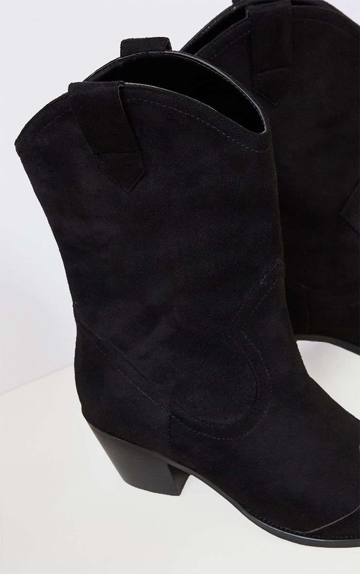 Black Suede Point Toe Western Boots 4