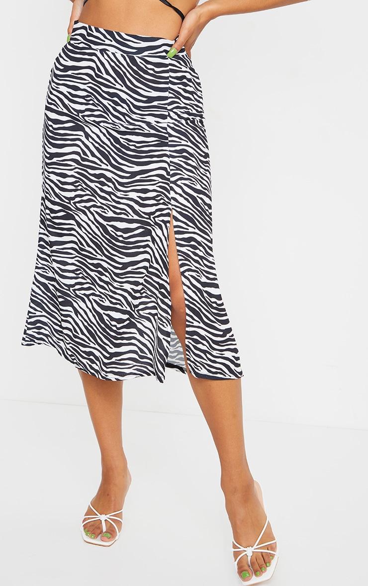 White Zebra Floaty Midi Skirt 2