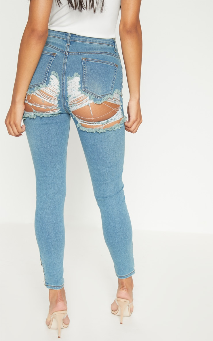 Dirty Vintage Distressed Bum Rip High Waisted Skinny Jean 5