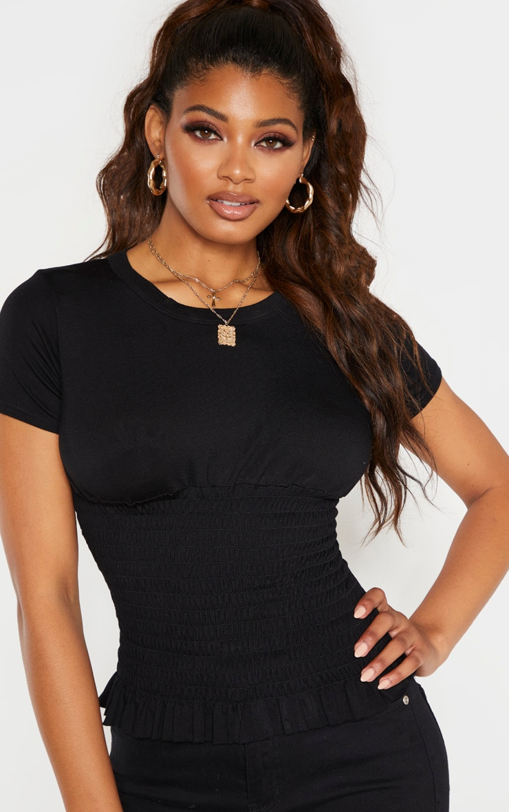 Tall Black Ruched Waist T-Shirt 5