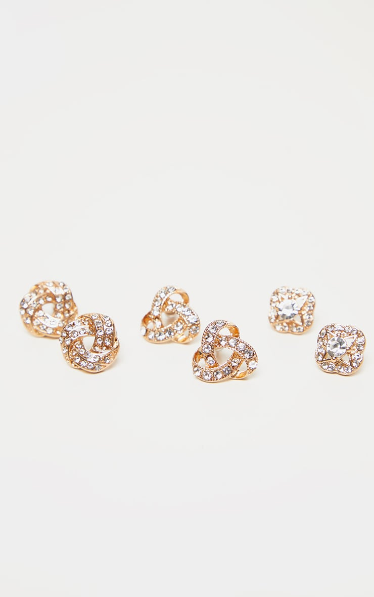 Gold Diamante Knotted Stud Earrings Multi Pack 3