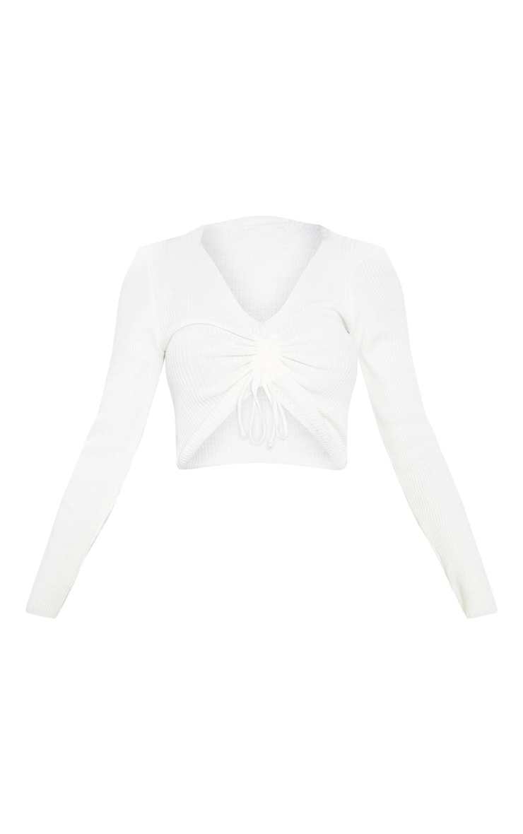 Cream Ribbed Knitted Ruched Detail Top  3