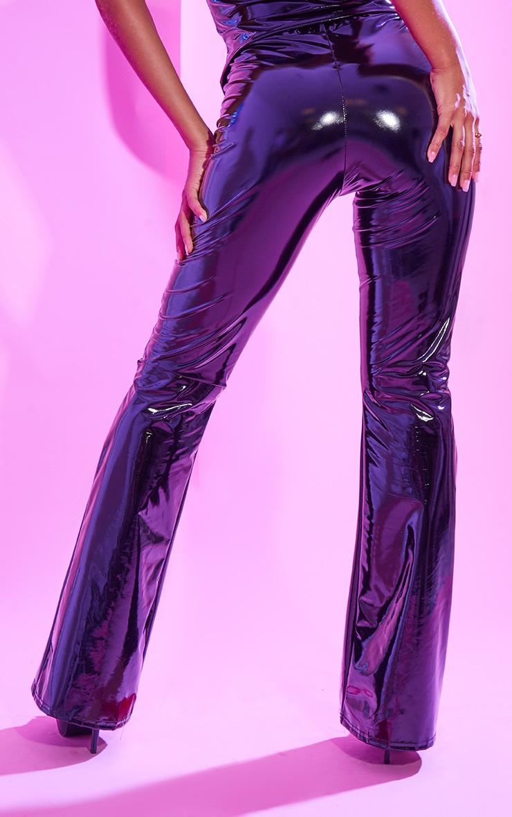 Black Flared Vinyl Pants 3