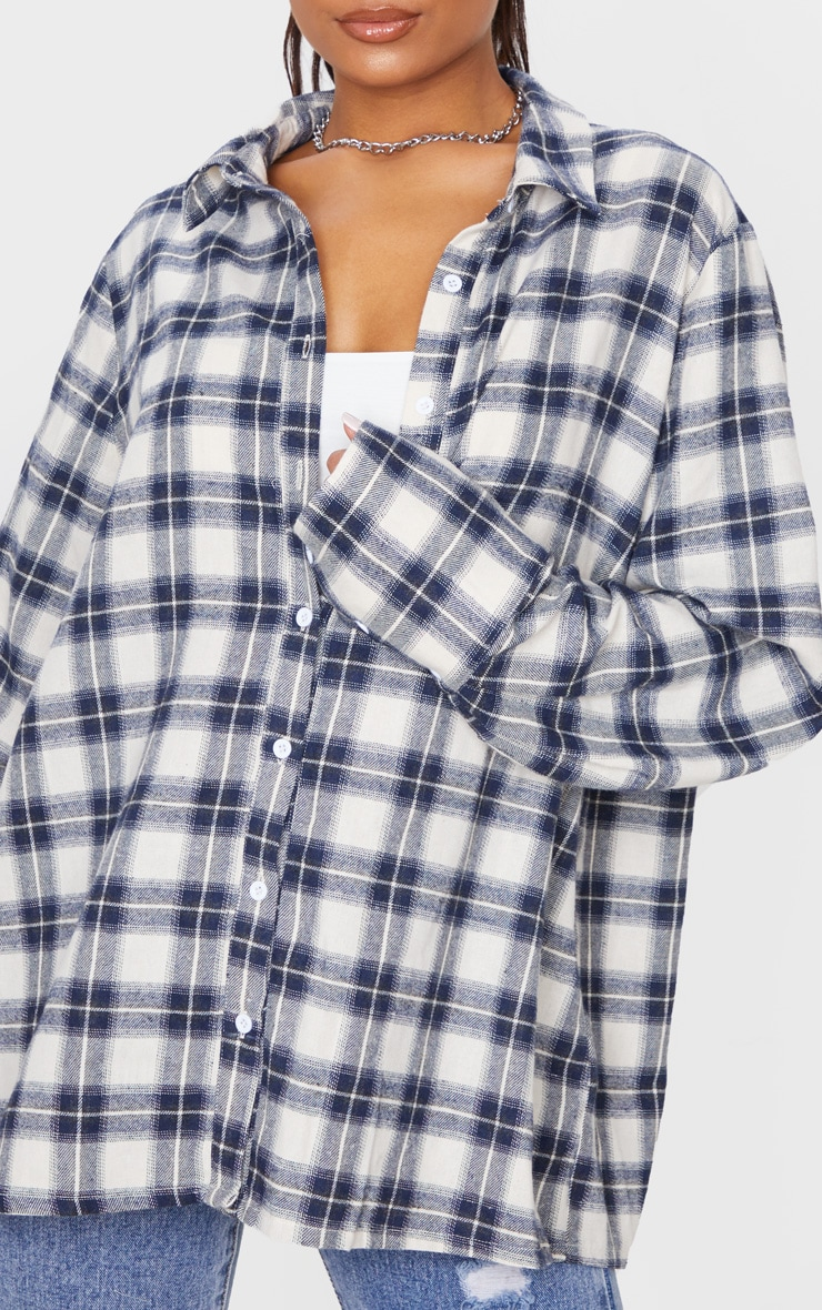 White Checked Oversized Shirt 5