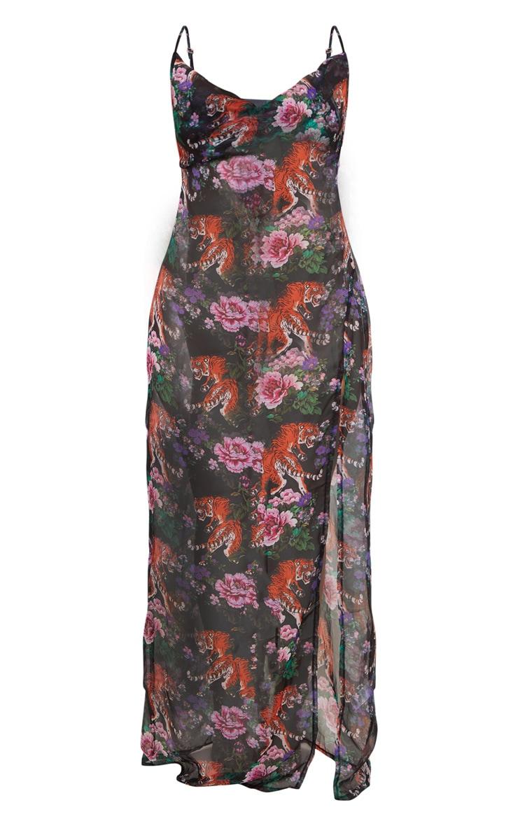 Black Tiger Oriental Cowl Neck Split Leg Maxi Beach Dress 3