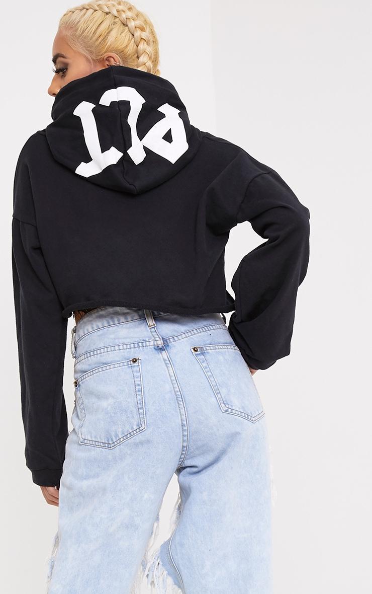 PLT Slogan Black Extreme Cropped Hoodie 1
