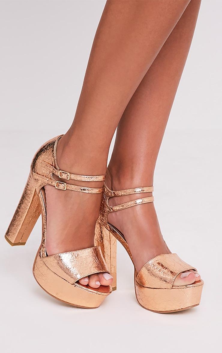 Emelda Rose Gold Double Ankle Strap Platform Heels 1