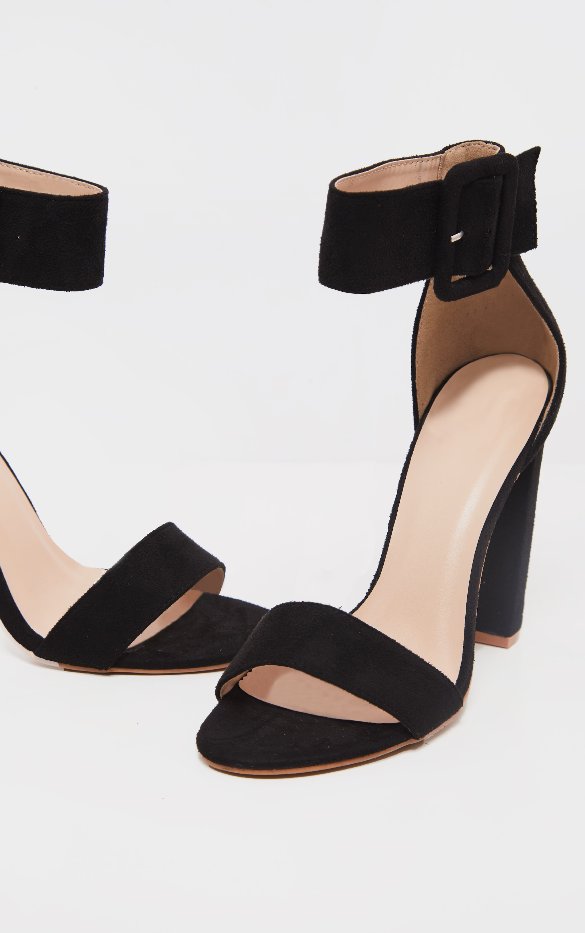 Black Ankle Buckle Block Heel  3