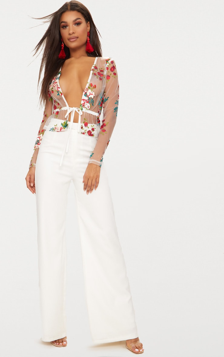 White Embroidered Lace Tie Waist Top 3