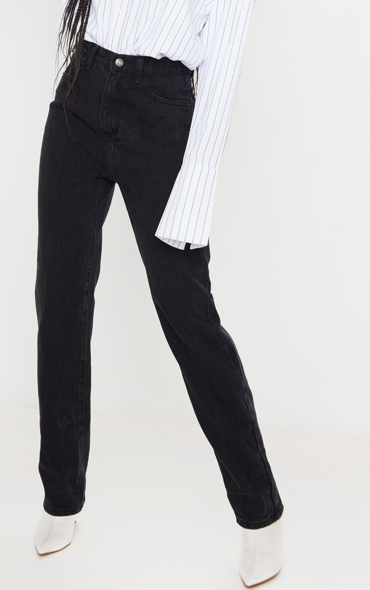 Washed Black Long Leg Straight Jeans 2