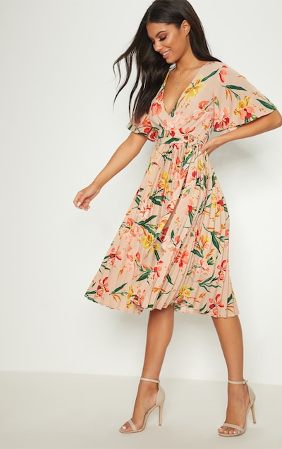 Pink Floral Pleated Midi Dress af8fc36b6