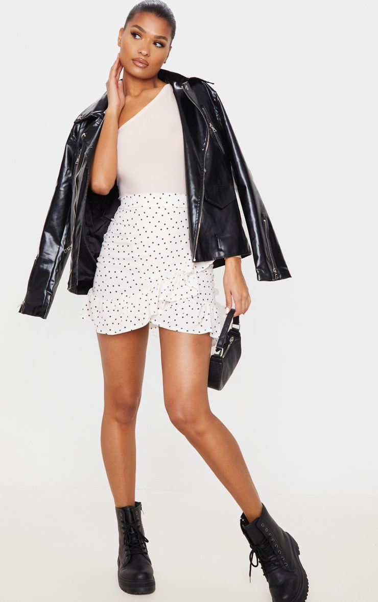 Nude Spot Print Frill Hem Wrap Mini Skirt 1