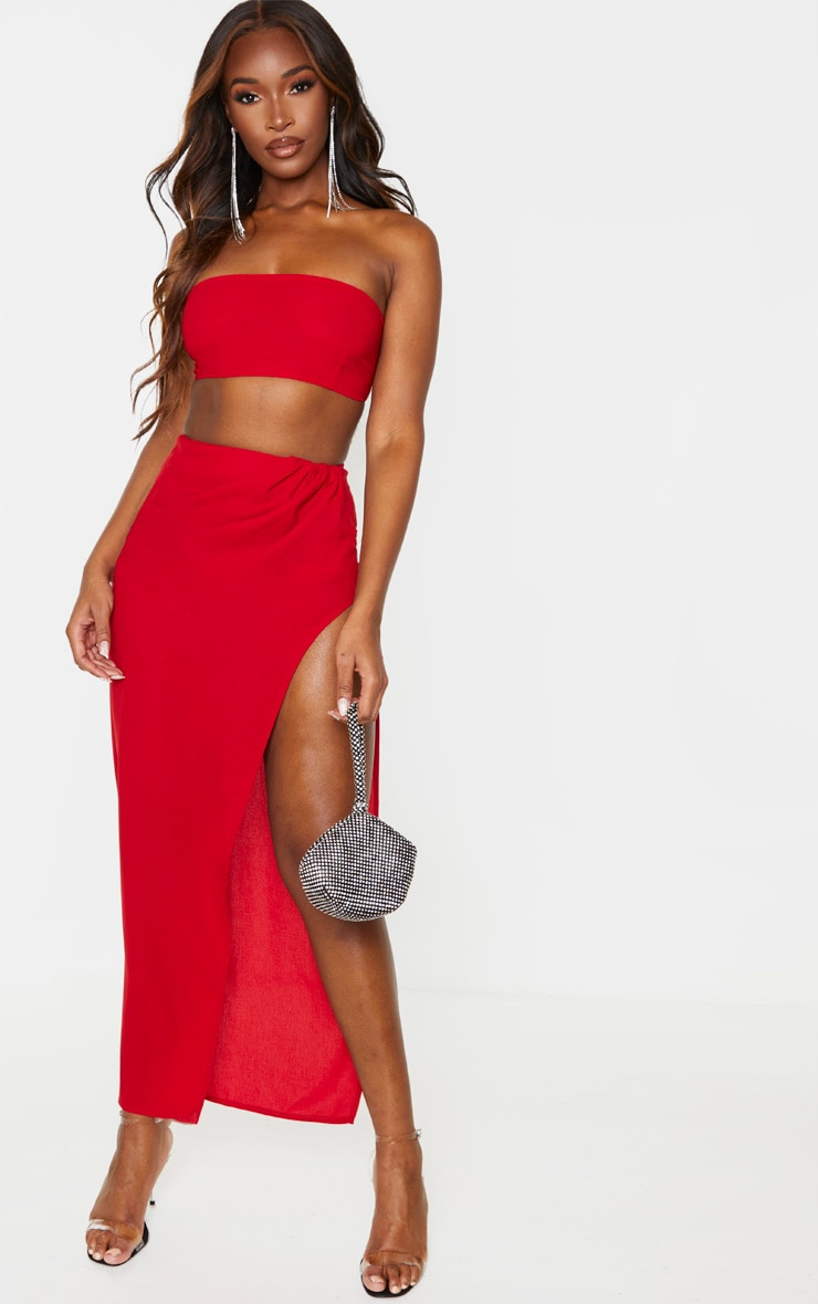 Red Woven Zip Back Bandeau 5