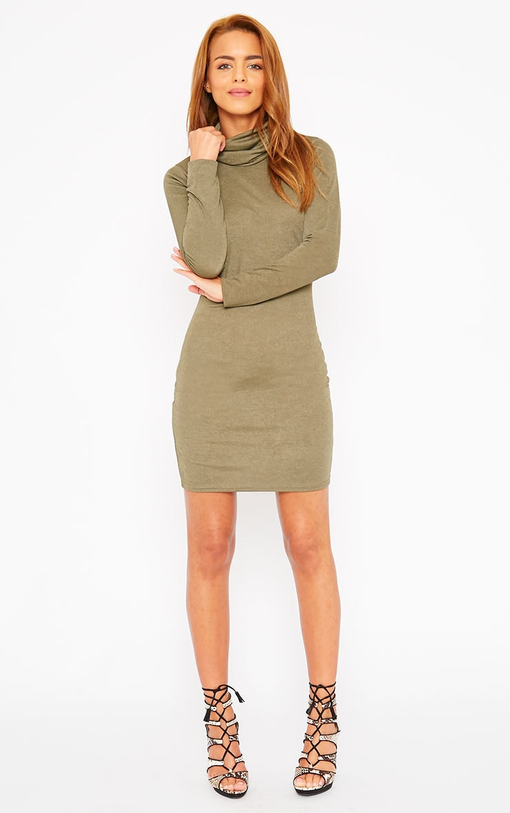 Catrina Khaki Roll Neck Dress 3