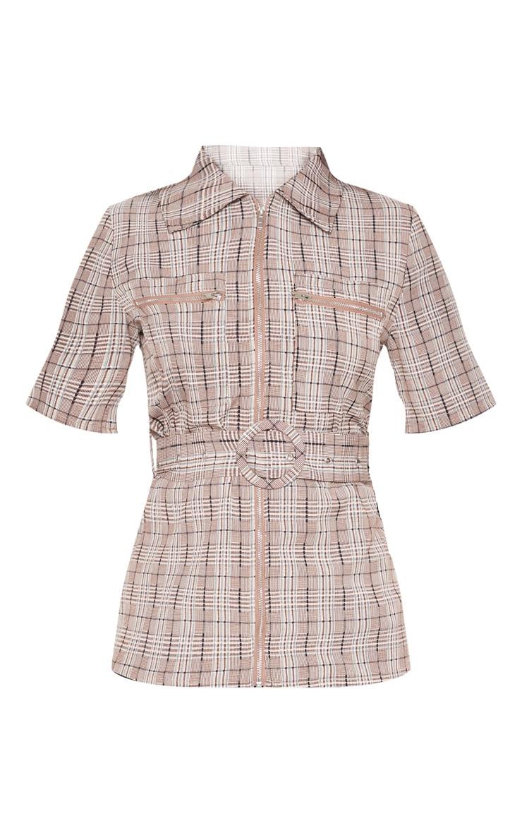 Chemise à carreaux gris pierre à manches courtes et détail ceinture 3