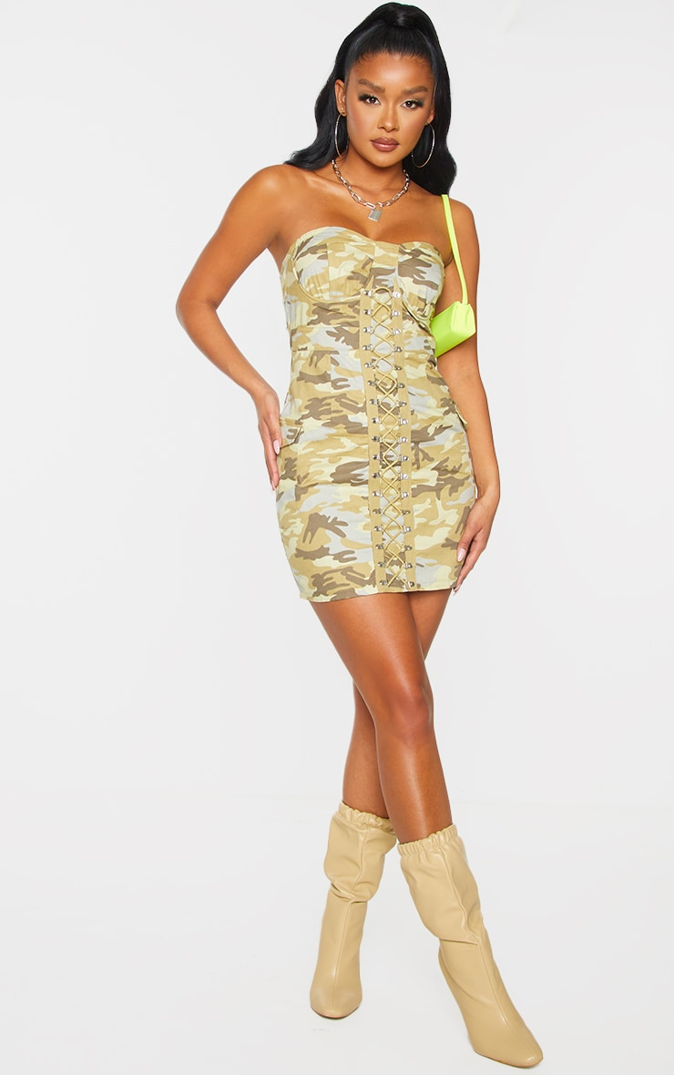 Green Camo Lace Up Detail Underwired Bandeau Bodycon Dress 1