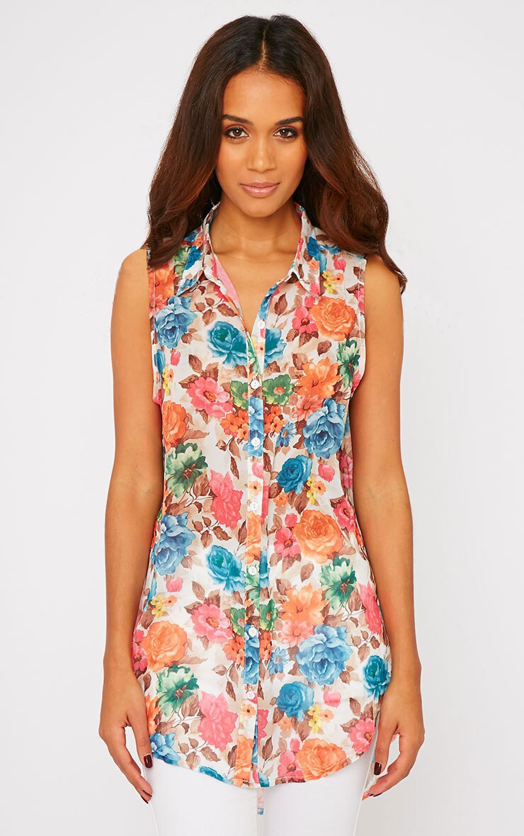 Olivia Cream Floral Print Sleeveless Shirt 1