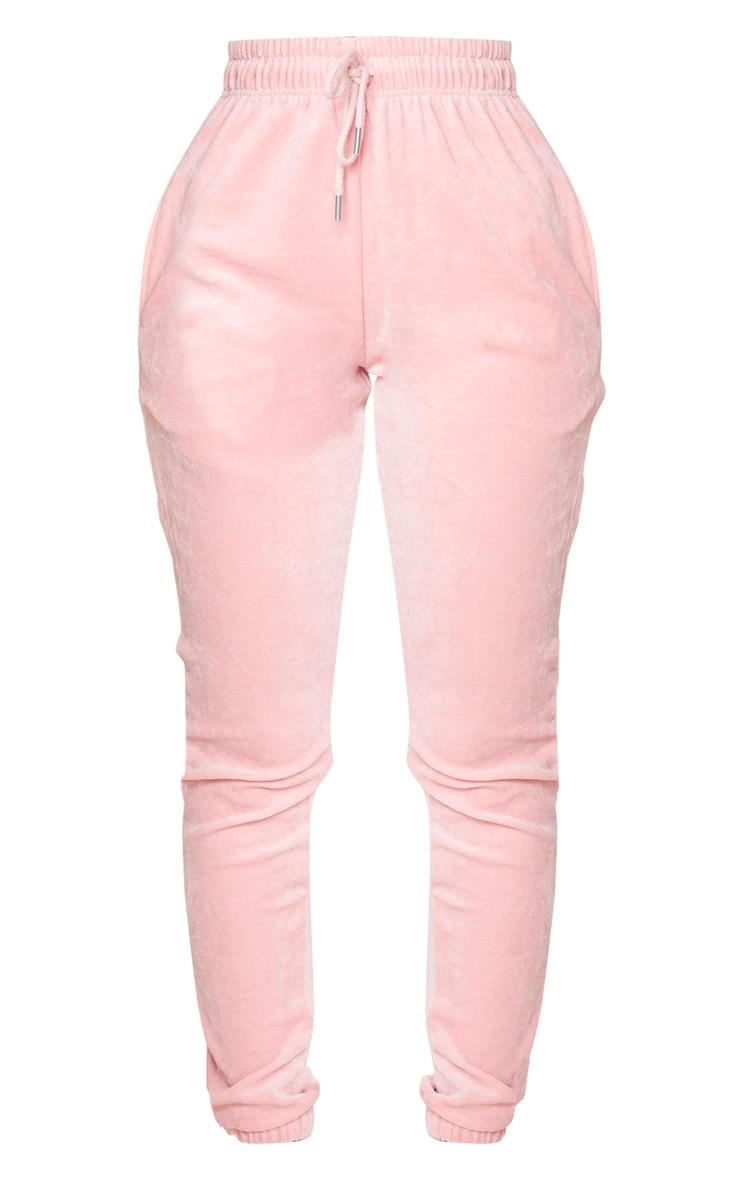 PRETTYLITTLETHING Shape Dusty Pink Velour Skinny Jogger 5