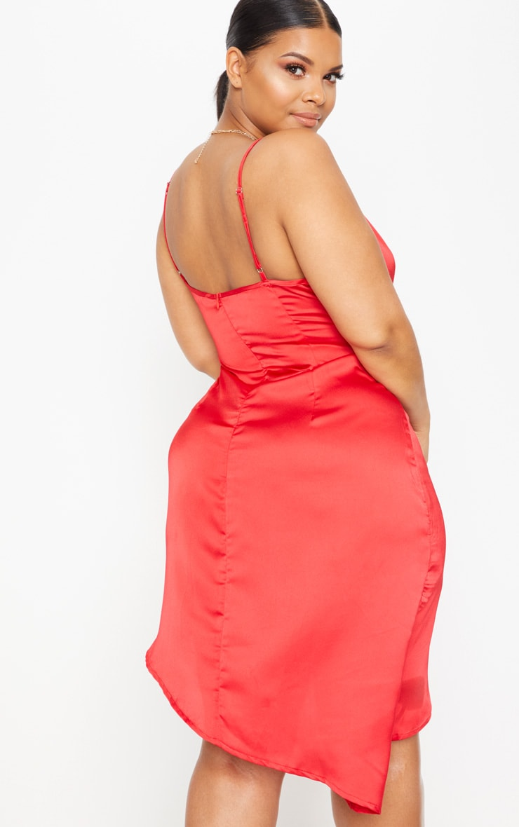 Red Plus Satin Wrap Dress 2