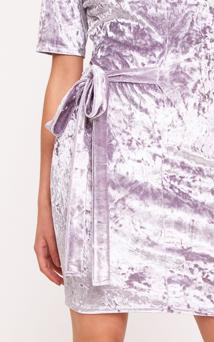 Lula Lilac Crushed Velvet Tie Side T Shirt Dress  5