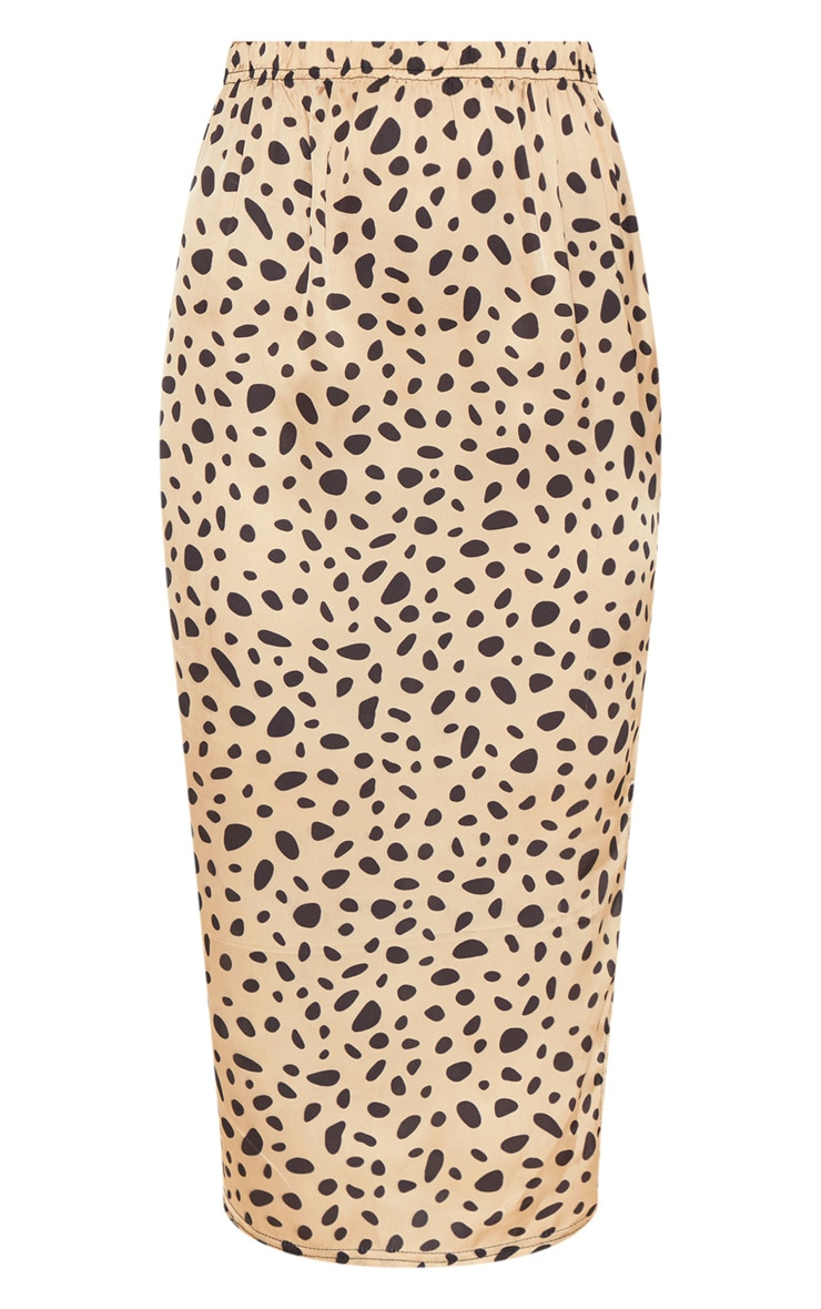 Gold Cheetah Print Satin Midi Skirt  3