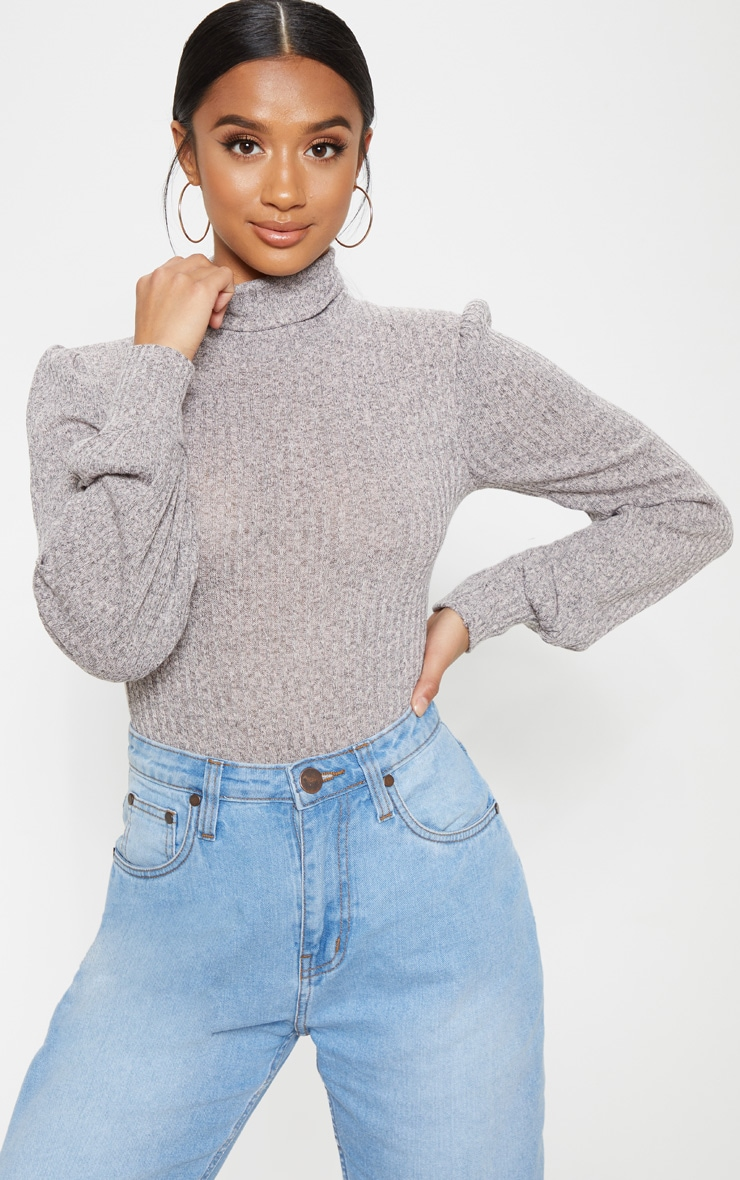 Petite Stone Rib Roll Neck Puff Sleeve Bodysuit 3