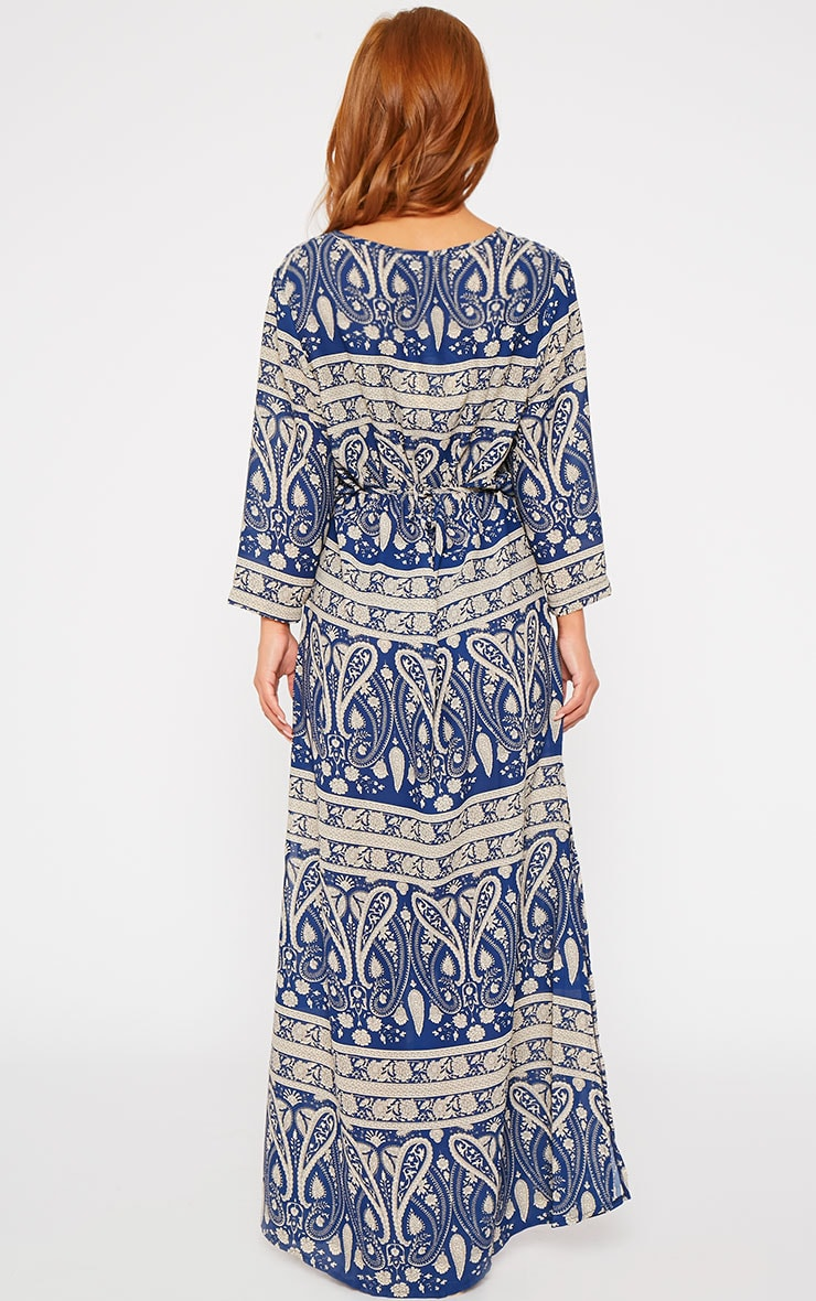 Octavia Blue Paisley Print Button Front Maxi Dress 2