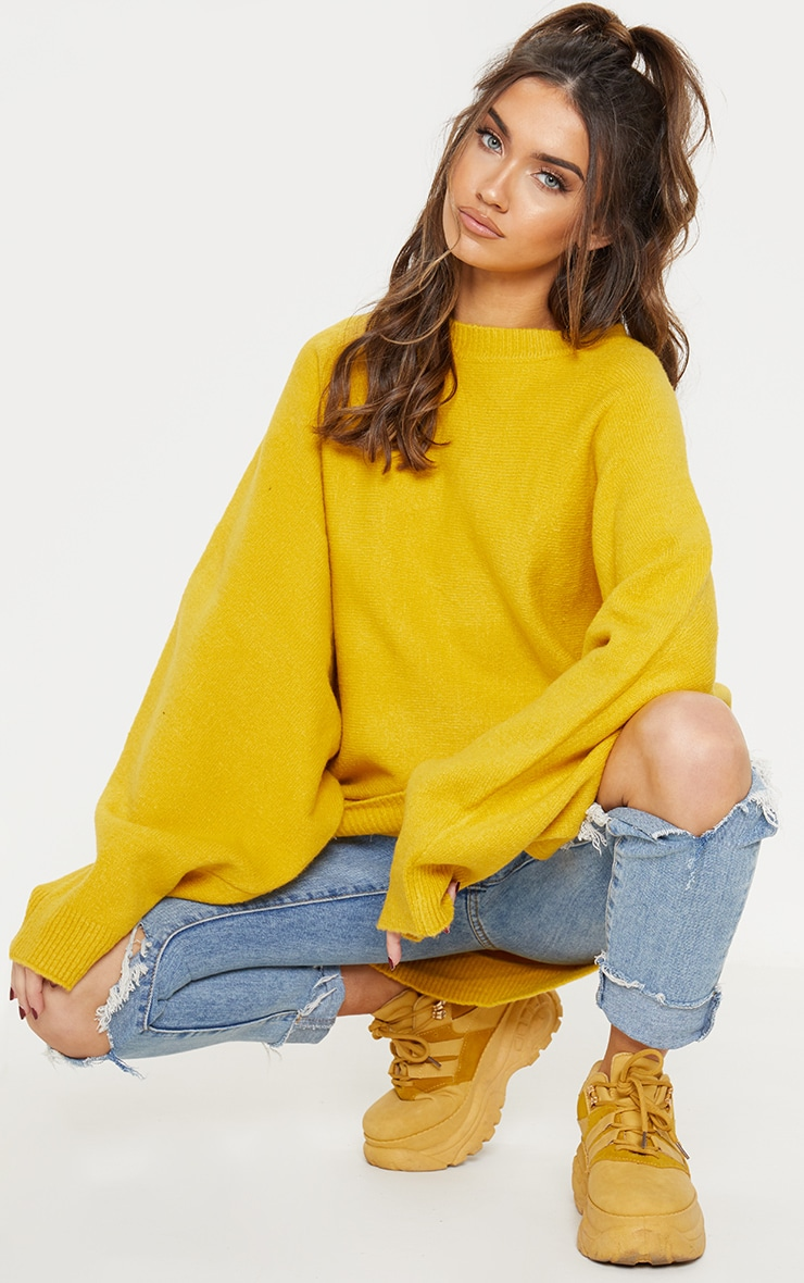 Mustard Knitted Jumper  by Prettylittlething