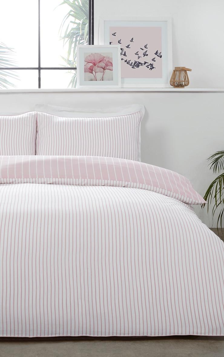 Pink Reverse Stripe King Duvet Set 1
