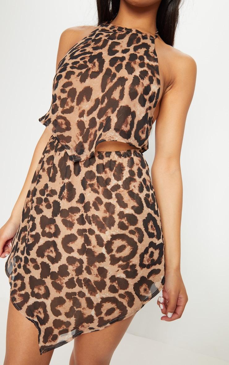 Tan Scarf Print Halterneck Pointy Hem Shift Dress 5
