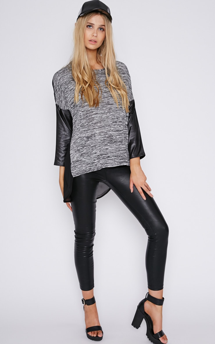 Lisette Grey Leather Sleeve Top  4