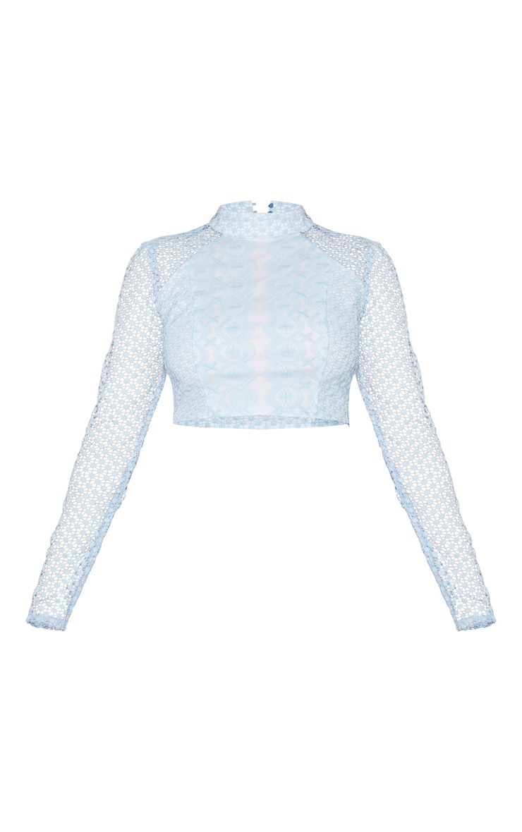 Dusty Blue Crochet High Neck Long Sleeve Crop Top 5