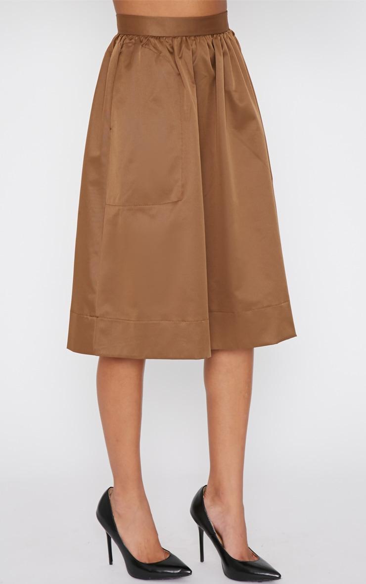 Dede Khaki A Line Midi Skirt  3
