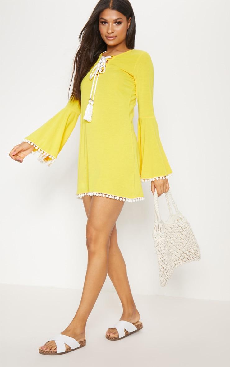 Yellow Pom Pom Lace Trim Fluted Sleeve Shift Dress 4