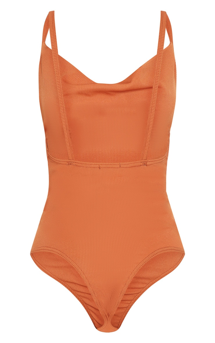 Burnt Orange Rib Cowl Neck Bodysuit 4
