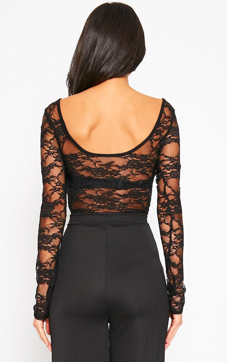 Elsie Black Lace Bodysuit  2