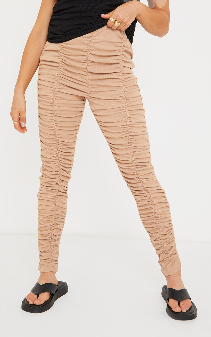Maternity Stone Ribbed Ruched Over Bump Leggings 2
