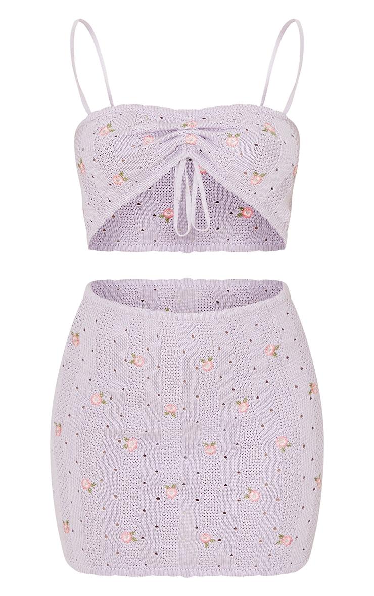Ensembe en maille tricot lilas brodé à top noué devant et jupe 5