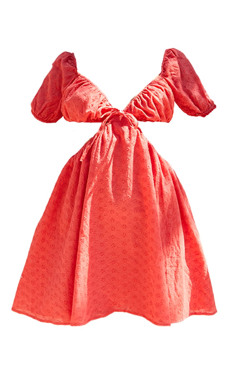 Red Broderie Anglaise Cut Out Puff Short Sleeve Shift Dress 5