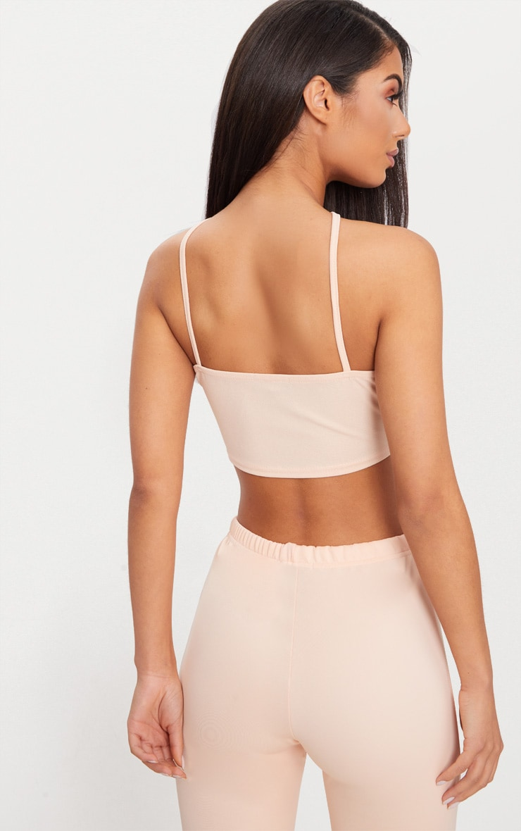 Nude Crepe Lace Up Detail High Neck Crop Top 2
