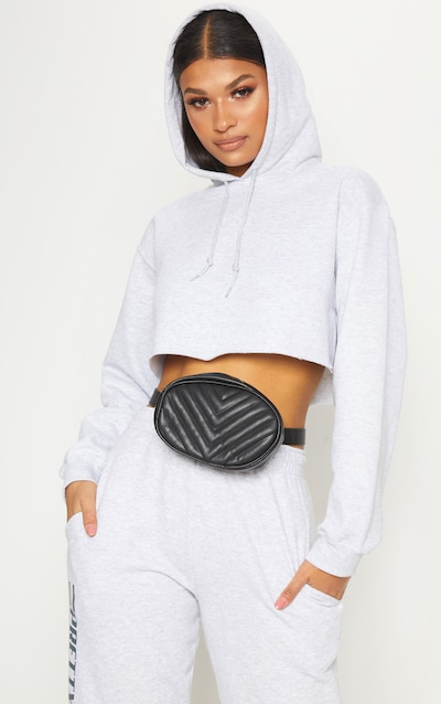 245265dddfe1b Grey Ultimate Oversized Crop Hoodie