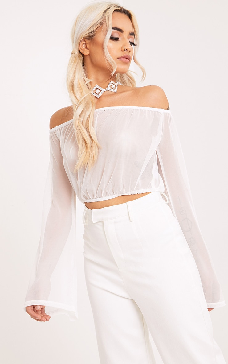 Yessica White Mesh Bardot Flare Sleeve Crop Top 1