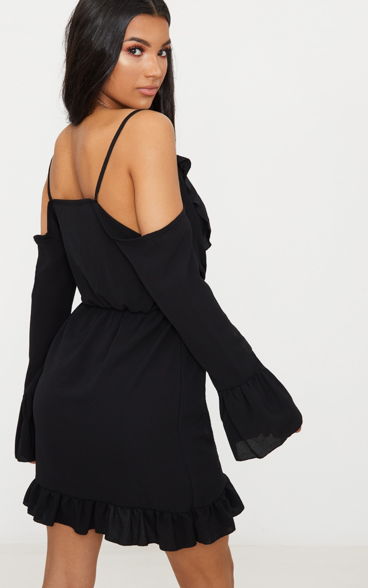 Black Frill Detail Cold Shoulder Wrap Dress Pretty Little Thing Manchester Great Sale Cheap Online 2018 Newest Cheap Online Y3I2bB