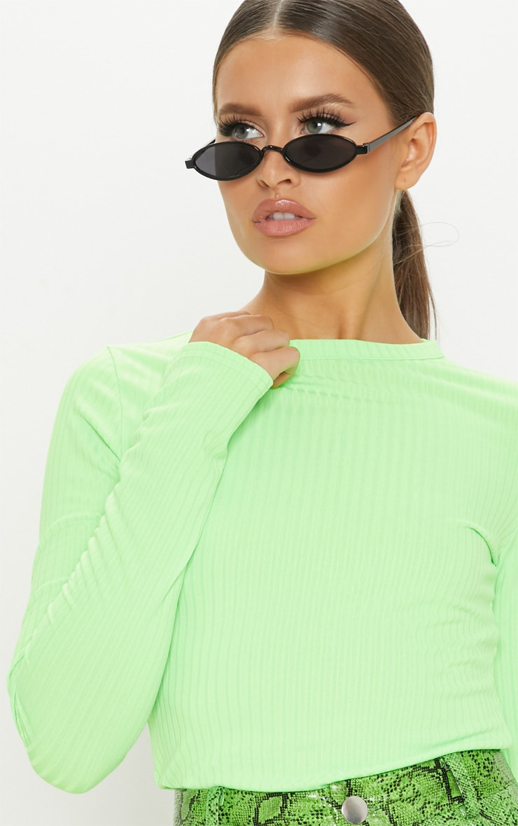 Neon Lime Rib Crew Neck Long Sleeve Top 5