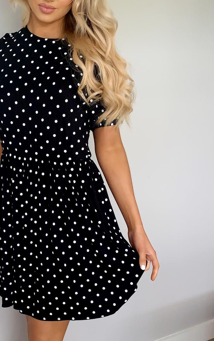 Black Polka Dot Frill Detail Smock Dress 4