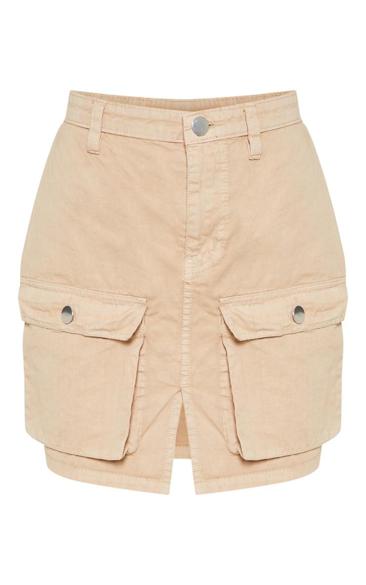 Pocket Detail Stone Denim Skirt  3