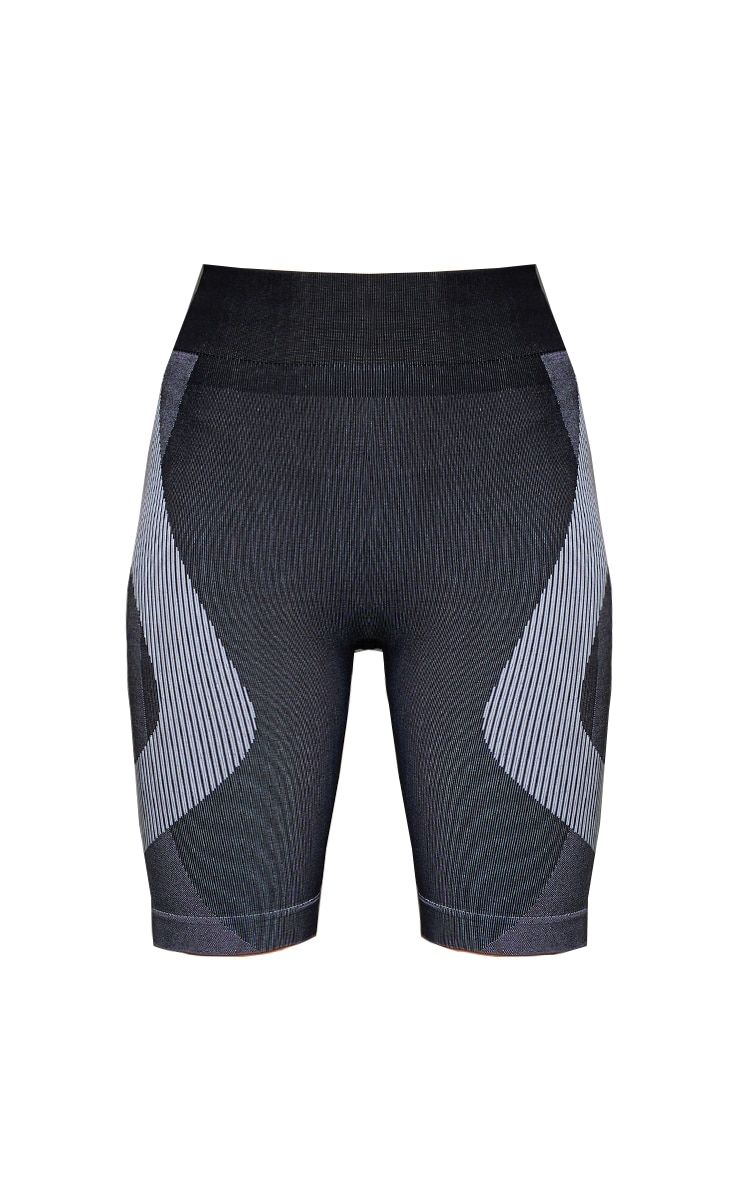 Black Seamless Color Block Marl Bike Shorts 6