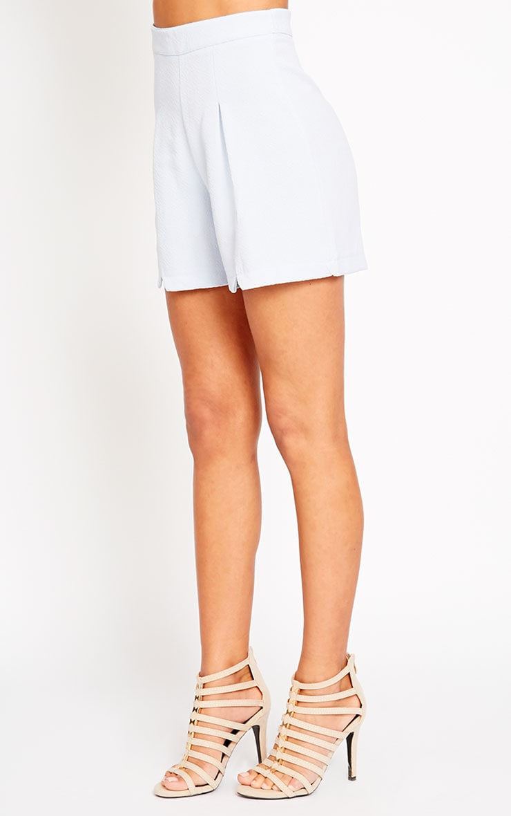 Raissa Powder Blue Notch Front High Waist Shorts 3